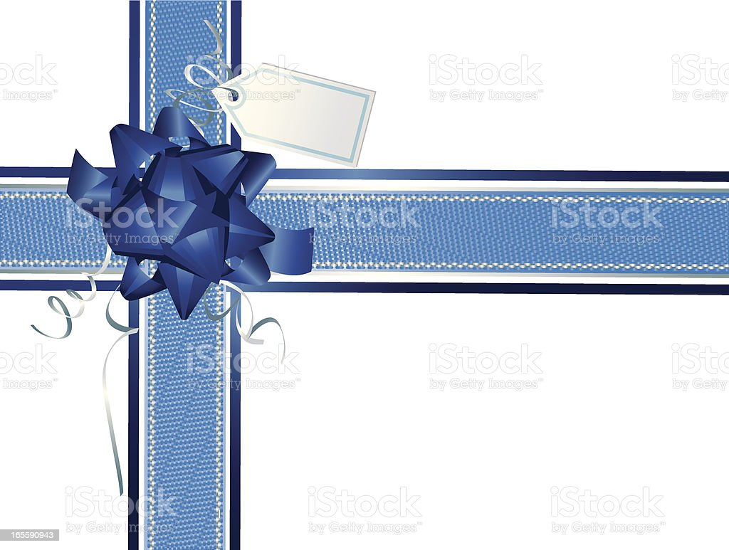 Silver Blue Ribbons and Wrapping Horizontal Vertical- Christmas royalty-free stock vector art
