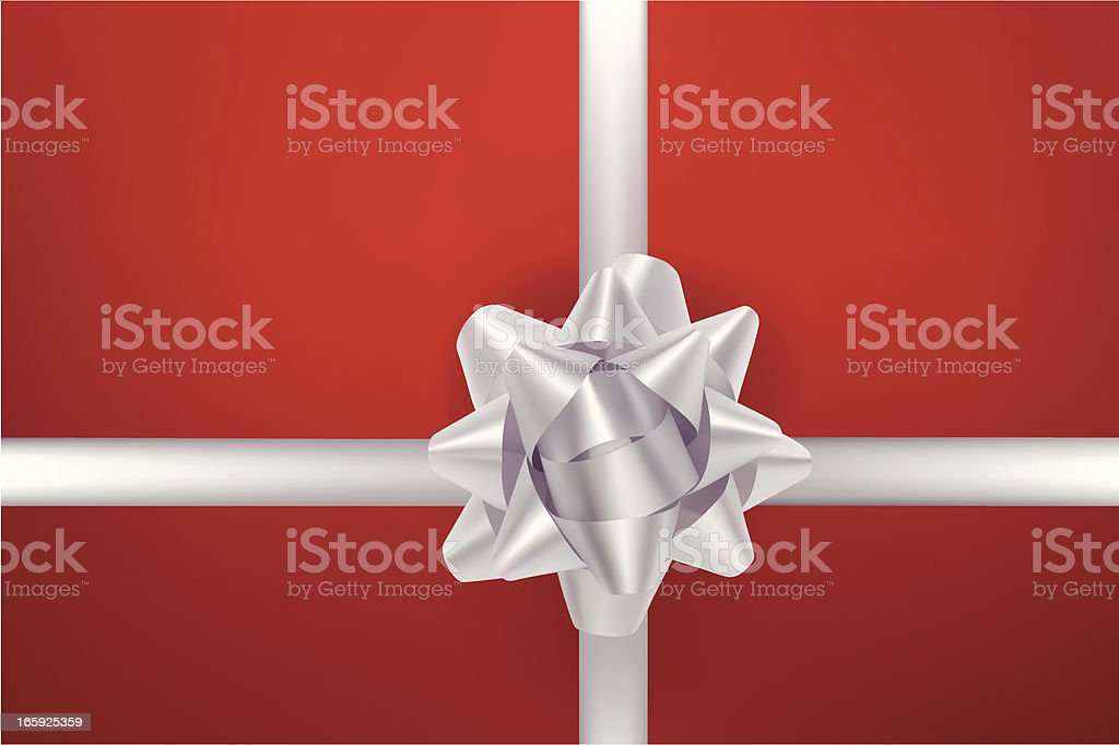 Silver Bow Red Background vector art illustration