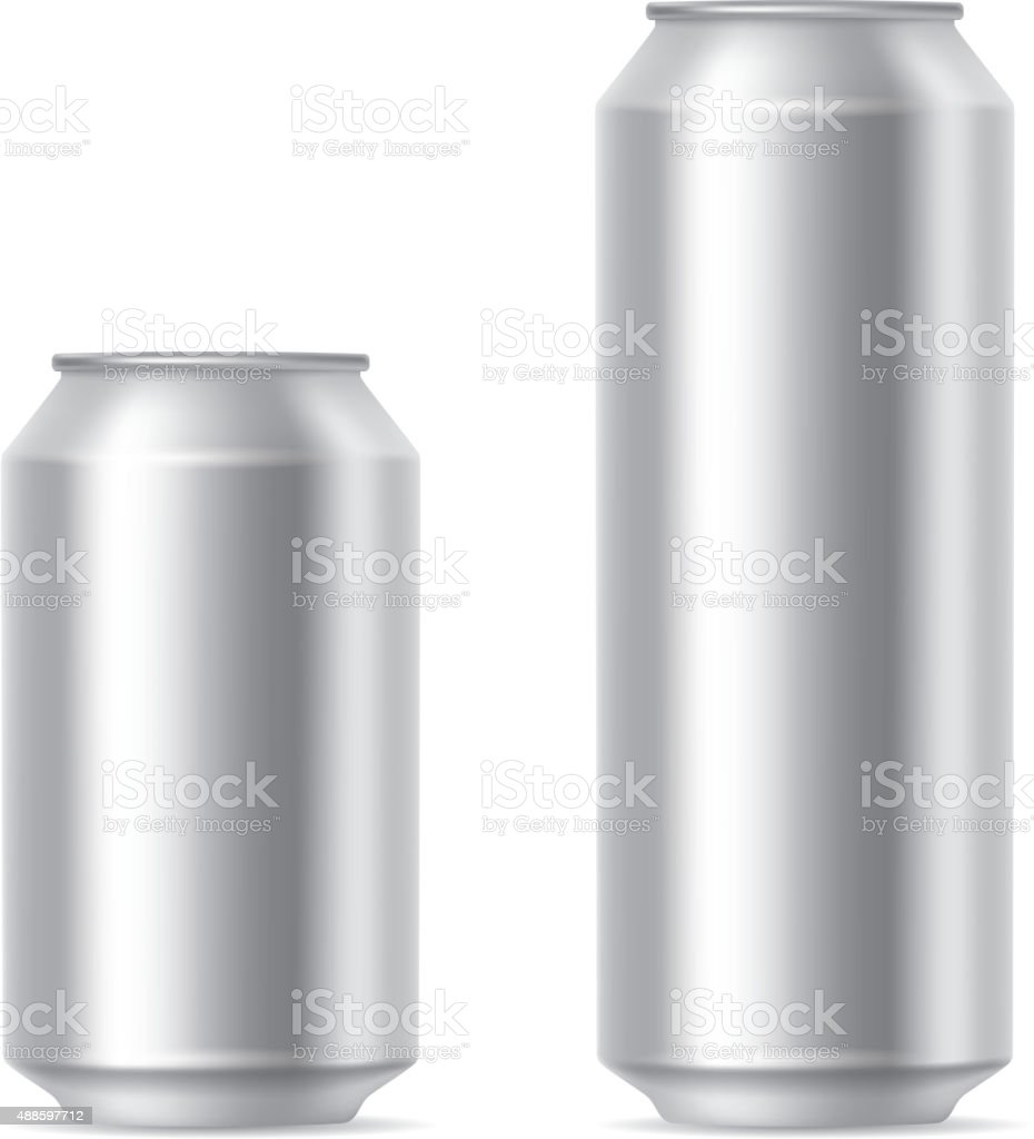 Silver cans vector art illustration