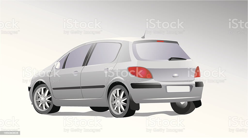 A silver car cartoon on a white background vector art illustration