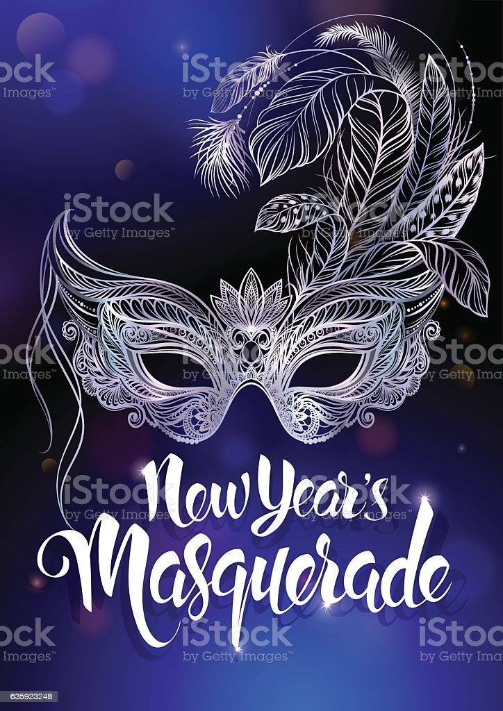 Silver carnival mask with feathers. vector art illustration
