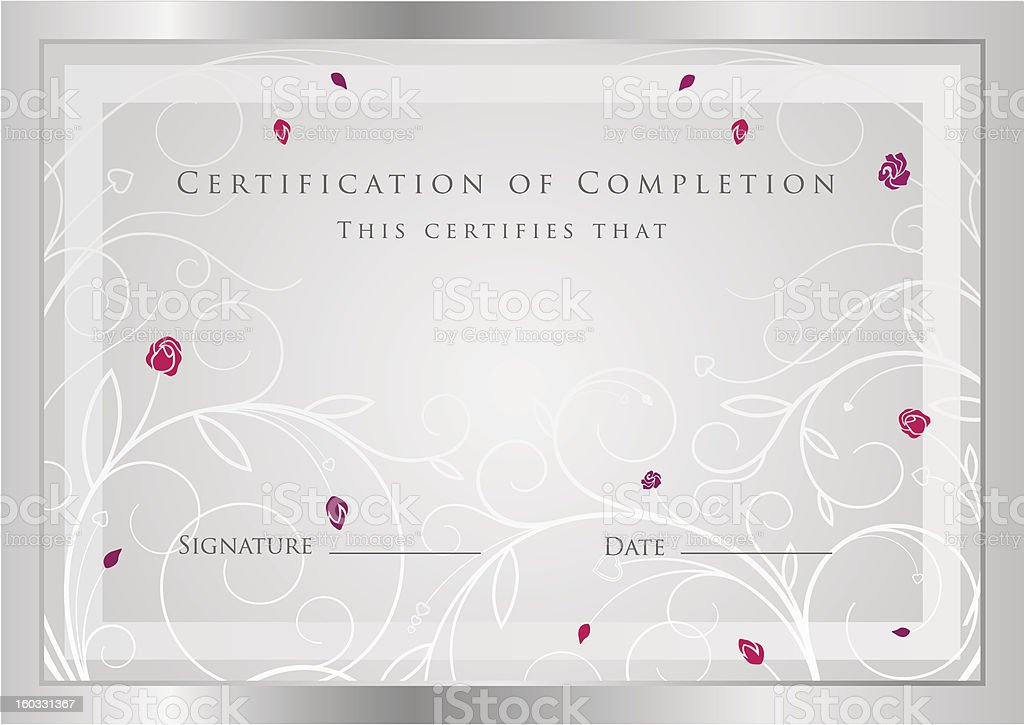 Silver Certificate / Diploma / Coupon (template). Award background design (flower, border) royalty-free stock vector art