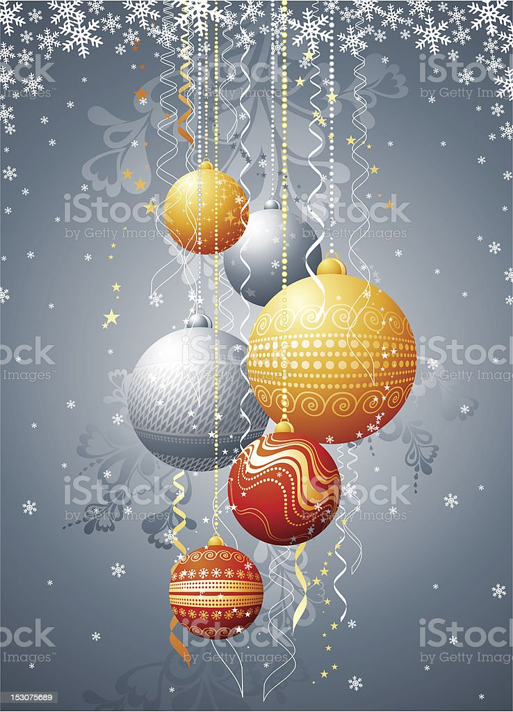silver christmas card with  balls royalty-free stock vector art