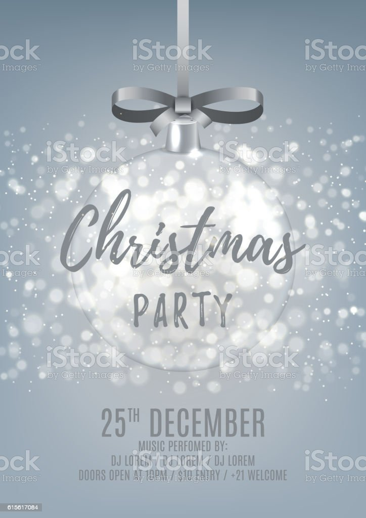 Silver Christmas party flyer with glass ball royalty-free stock vector art