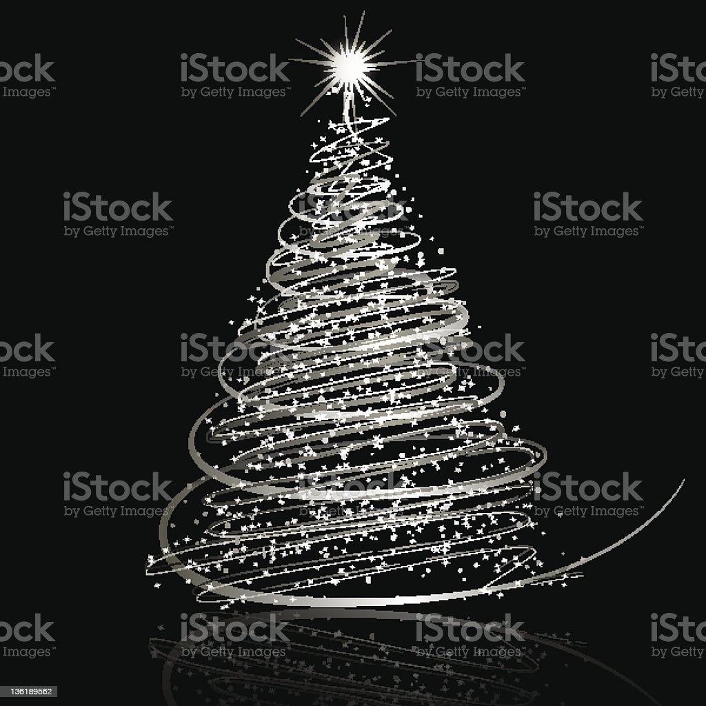 Silver Christmas tree on black background vector art illustration
