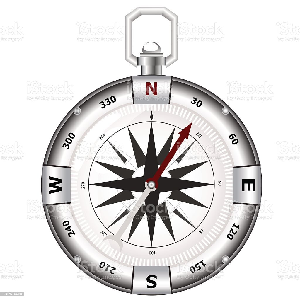 Silver compass for travels and tourists vector art illustration