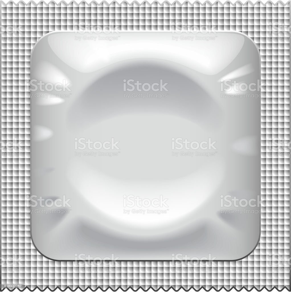 Silver condom packaging isolated on white vector vector art illustration