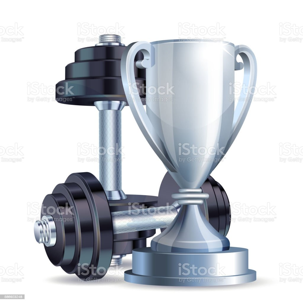 Silver cup with metal realistic dumbbells. vector art illustration