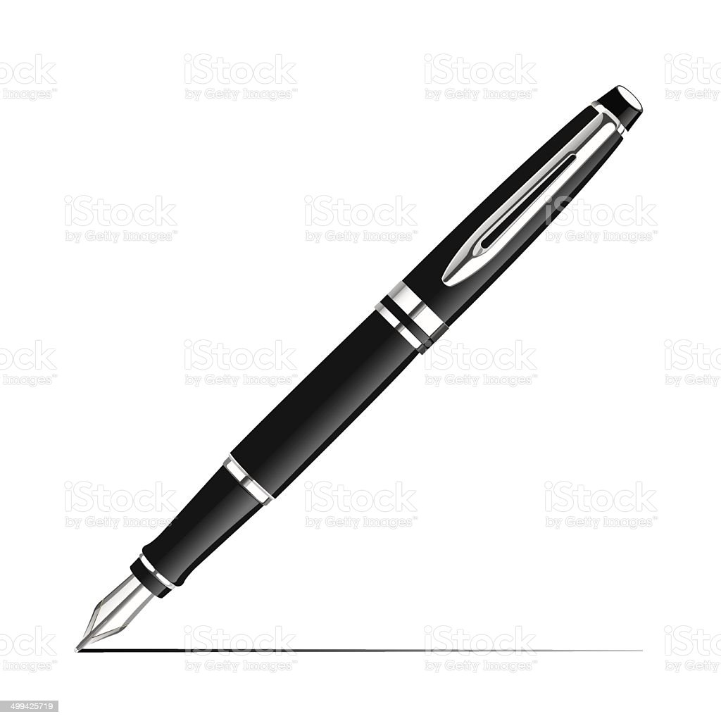 Silver Fountain Pen vector art illustration