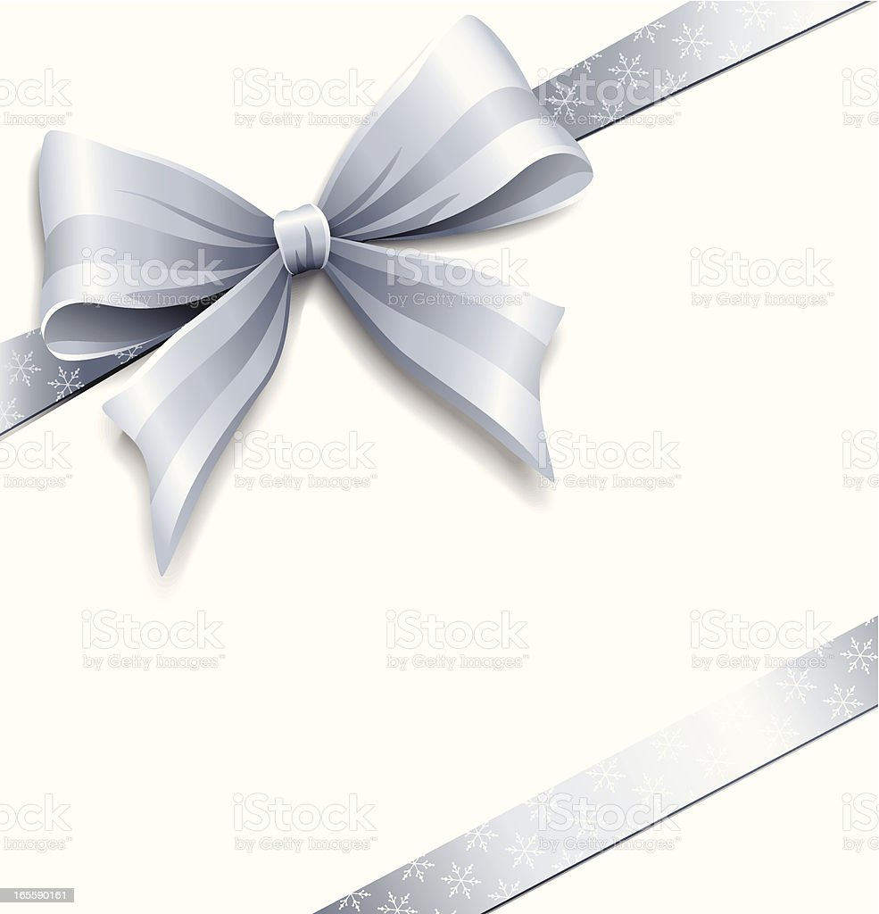 Silver Gift Bow vector art illustration