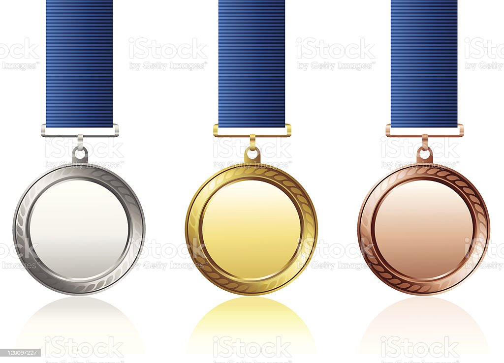 Silver gold and bronze medals with blue ribbons royalty-free stock vector art