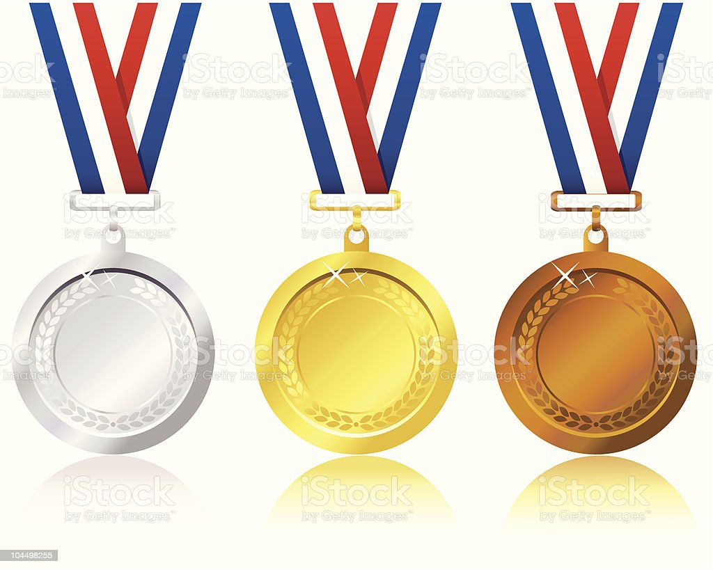 Silver, gold and bronze metals with patriotic ribbon royalty-free stock vector art
