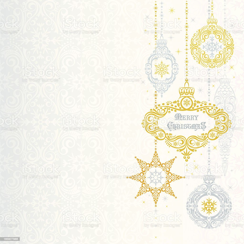 Silver & Gold Christmas Ornaments royalty-free stock vector art