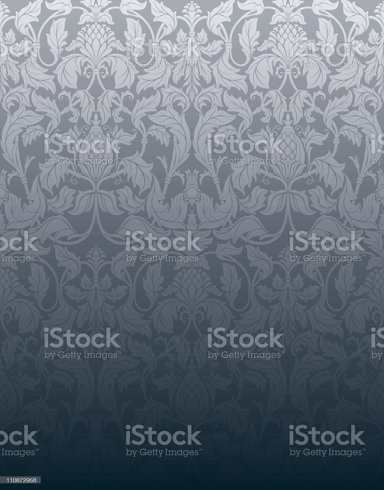 Silver Grey vintage seamless wallpaper royalty-free stock vector art