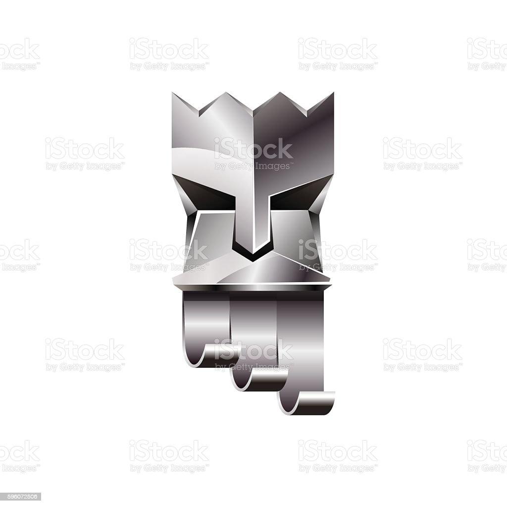 Silver head of king on white background. vector art illustration