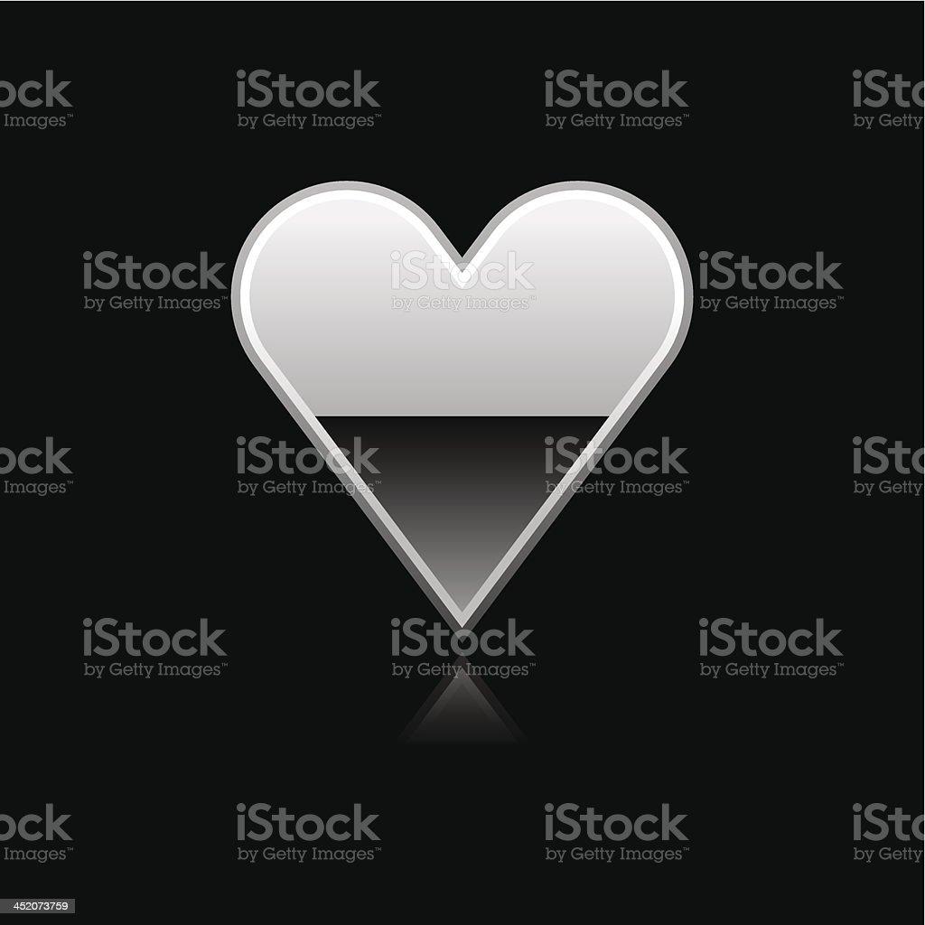 Silver heart sign metal icon chrome pictogram web internet button royalty-free stock vector art