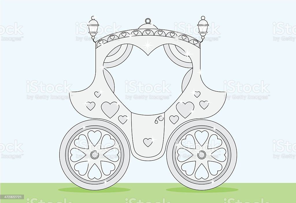 Silver Heart Wedding Carriage on Grass royalty-free stock vector art