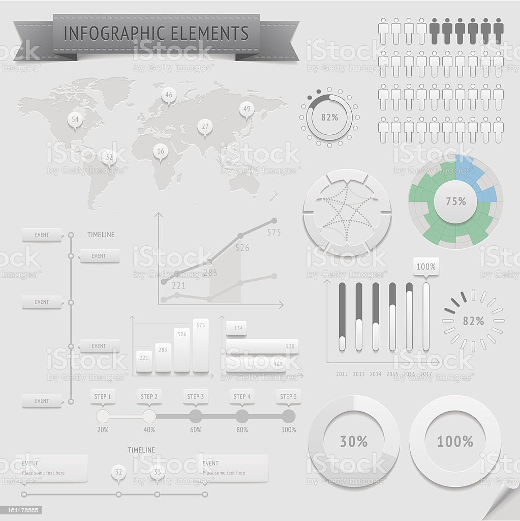 Silver infographic template for design and data elements royalty-free stock vector art