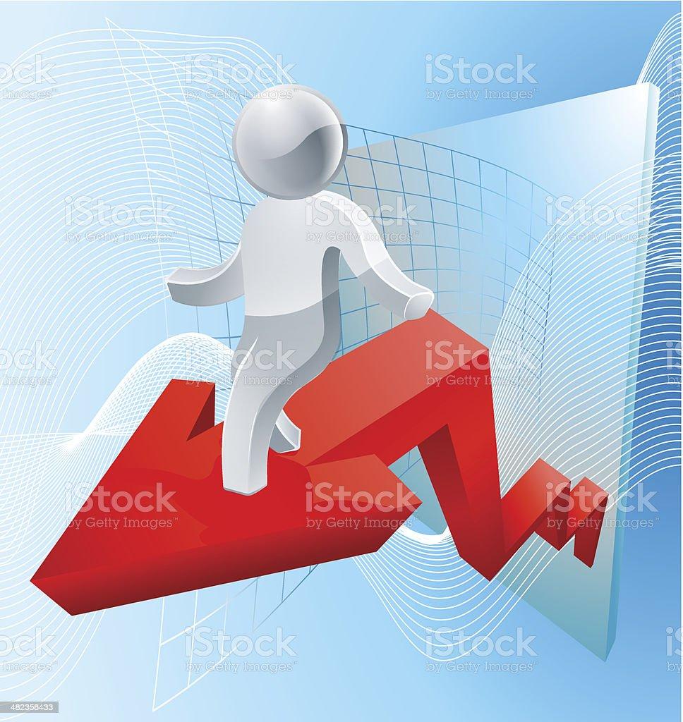 Silver man business chart arrow royalty-free stock vector art