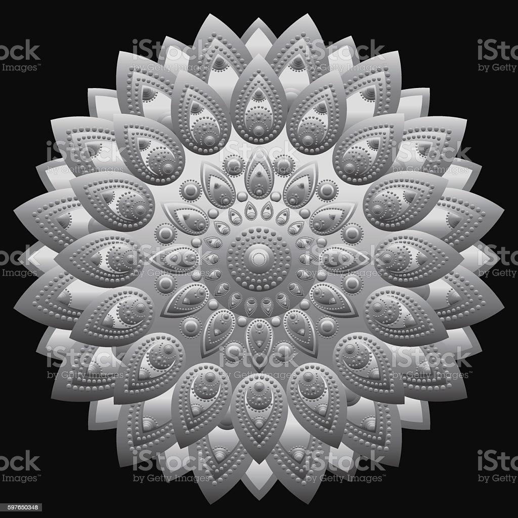 Silver mandala. East, ethnic design, oriental pattern, round silver ornament vector art illustration