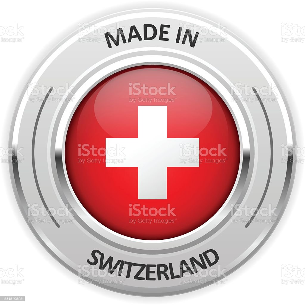 Silver medal Made in Switzerland with flag vector art illustration