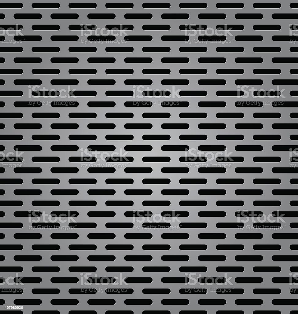 Silver metal background with elongated grill slots vector art illustration