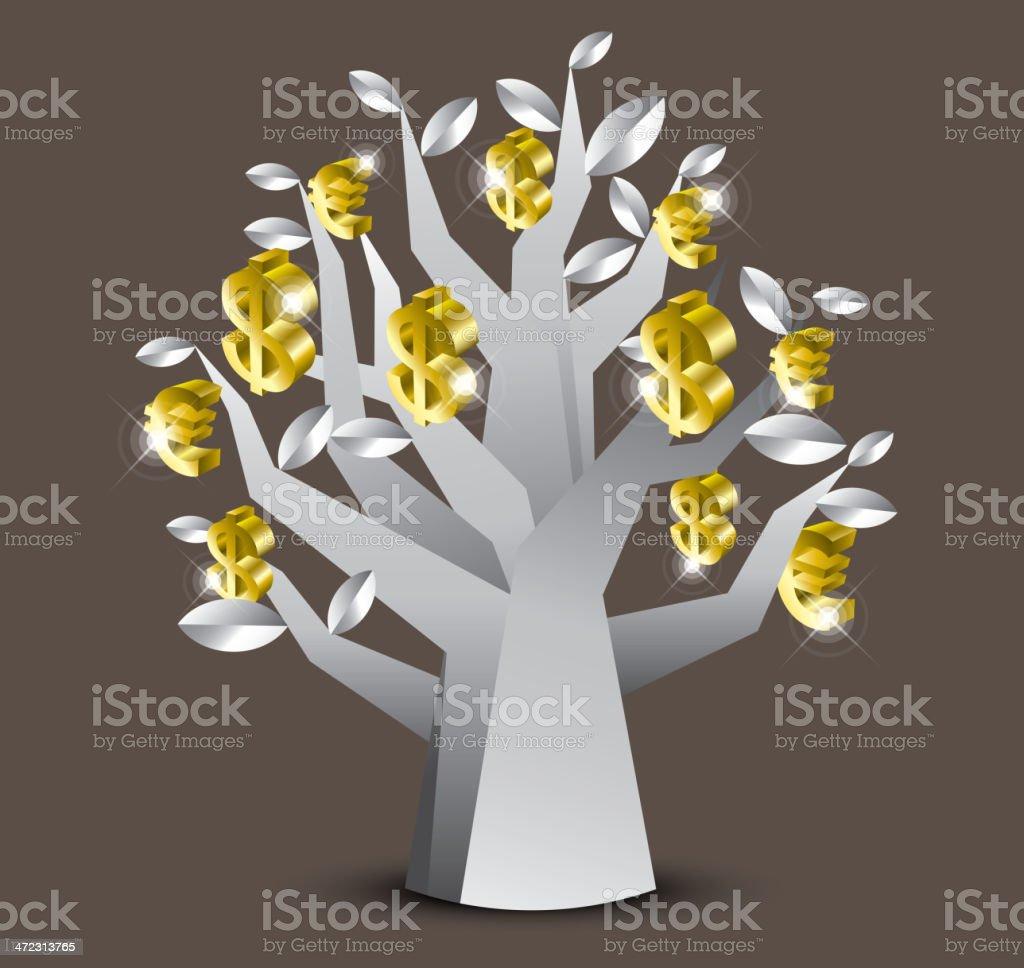 Silver Money-Tree royalty-free stock vector art