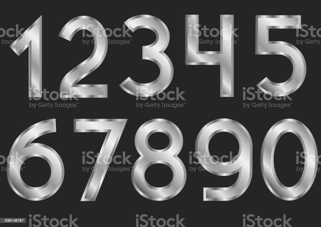 Silver numbers vector art illustration