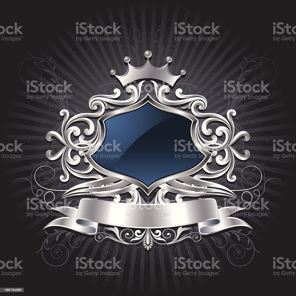 Silver ornate shield royalty-free stock vector art