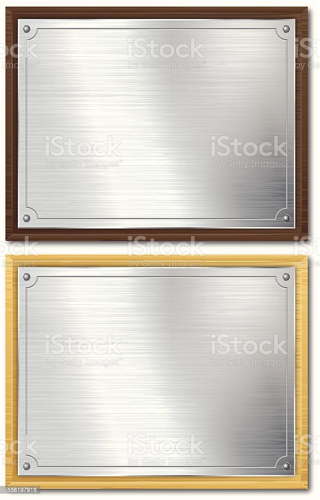 Silver Plaque Mounted On Wood vector art illustration