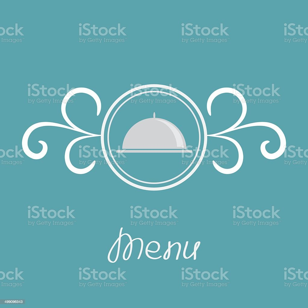 Silver platter cloche and round frame with calligraphic design element. royalty-free stock vector art