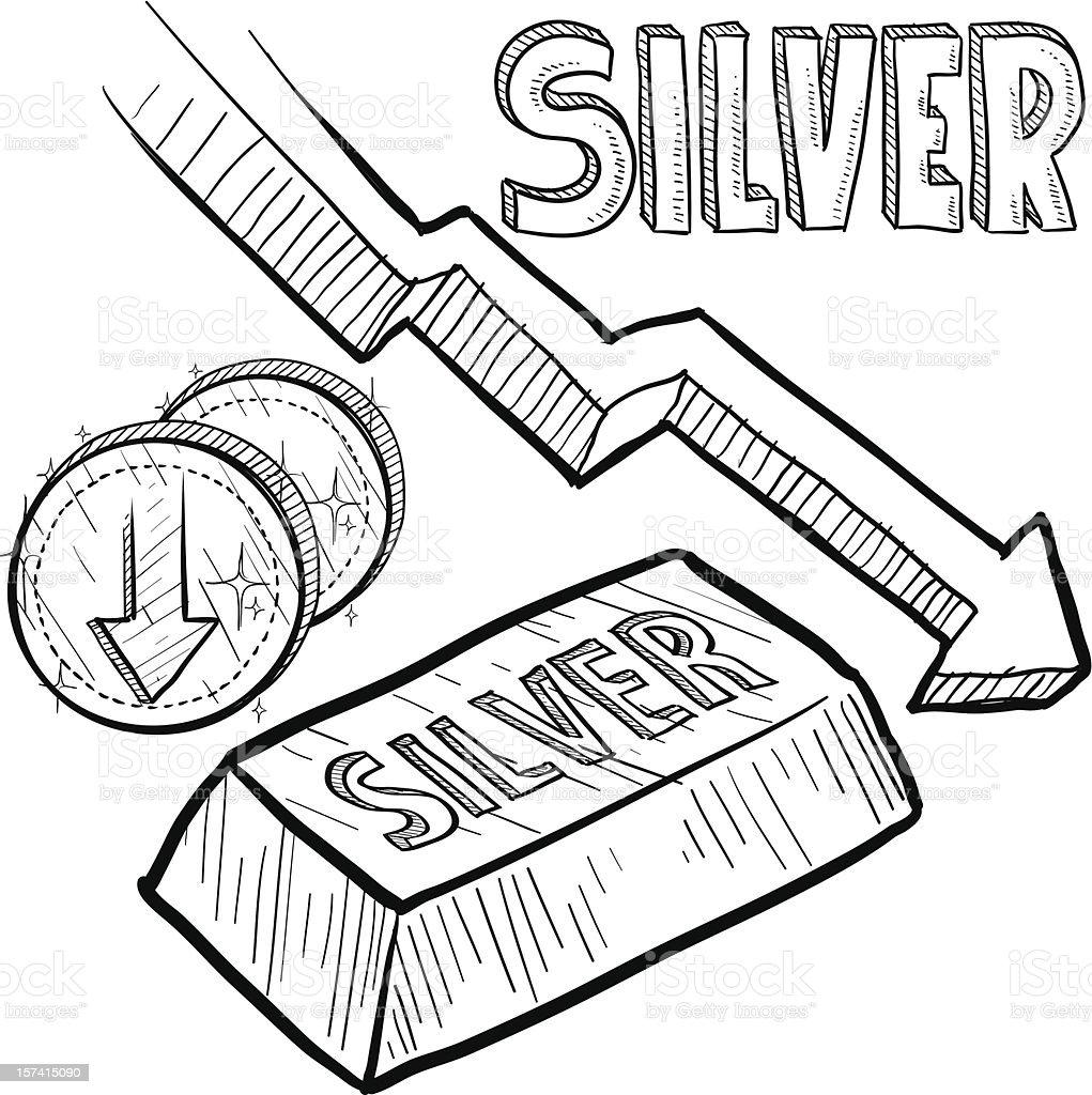 Silver prices decreasing sketch vector art illustration