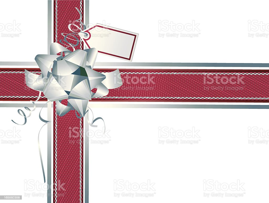 Silver Red Ribbons and Wrapping Horizontal Vertical- Christmas royalty-free stock vector art
