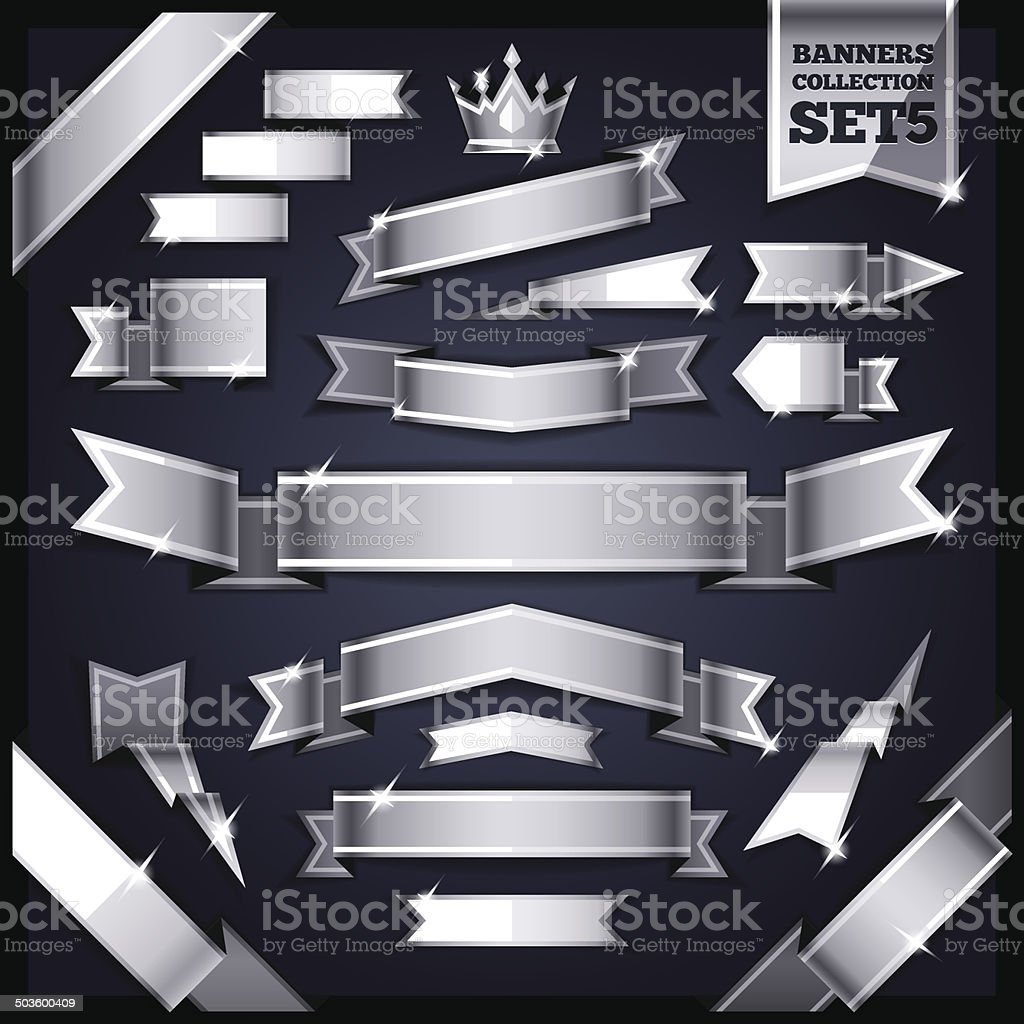 Silver Ribbons Banners Collection Set5 vector art illustration