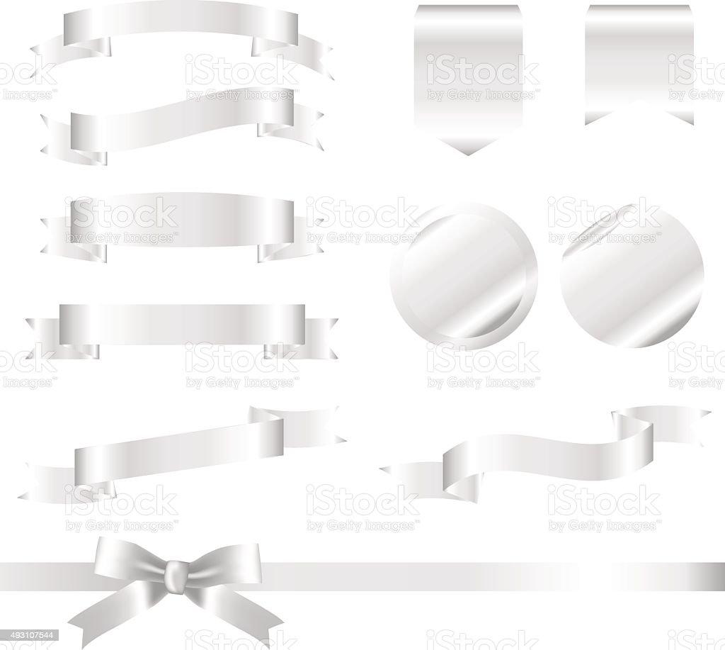 Silver Ribbons Set isolated On White Background. Vector Illustration vector art illustration