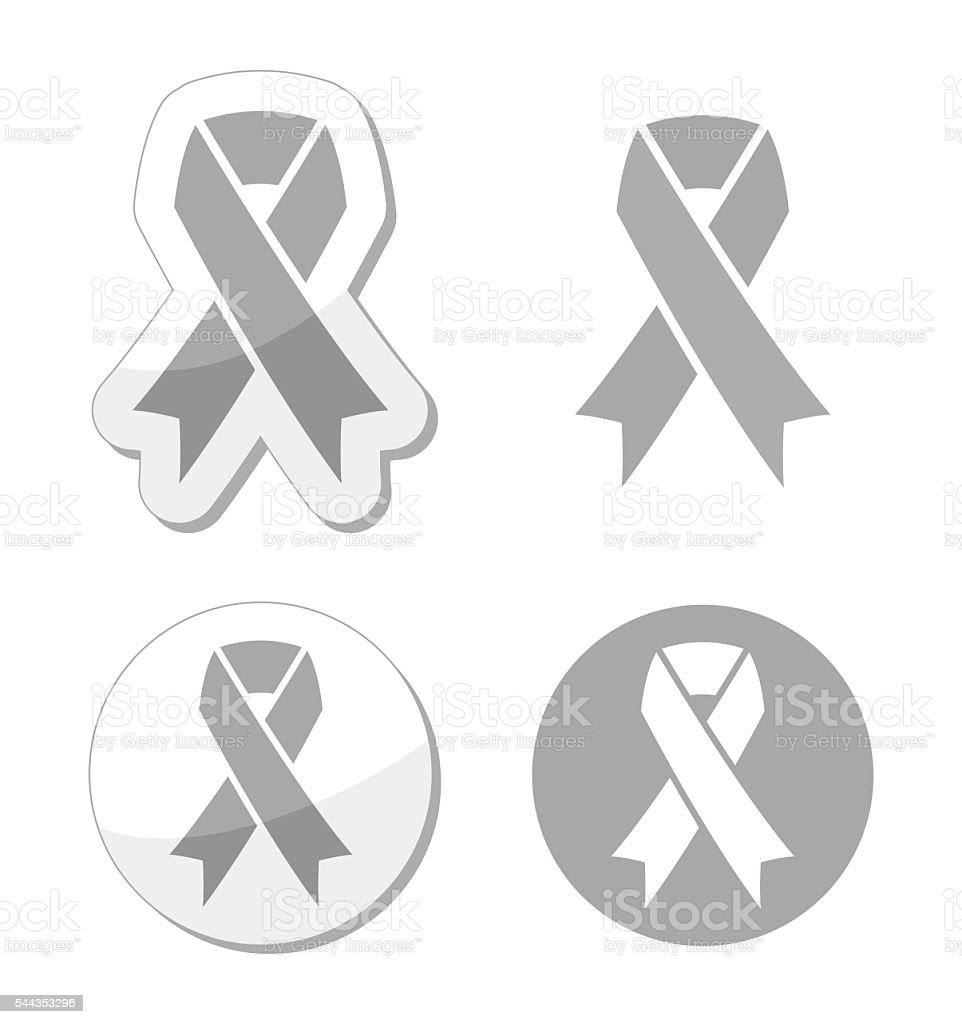 Silver ribbons set isolated on white symbol of mental illnesses vector art illustration