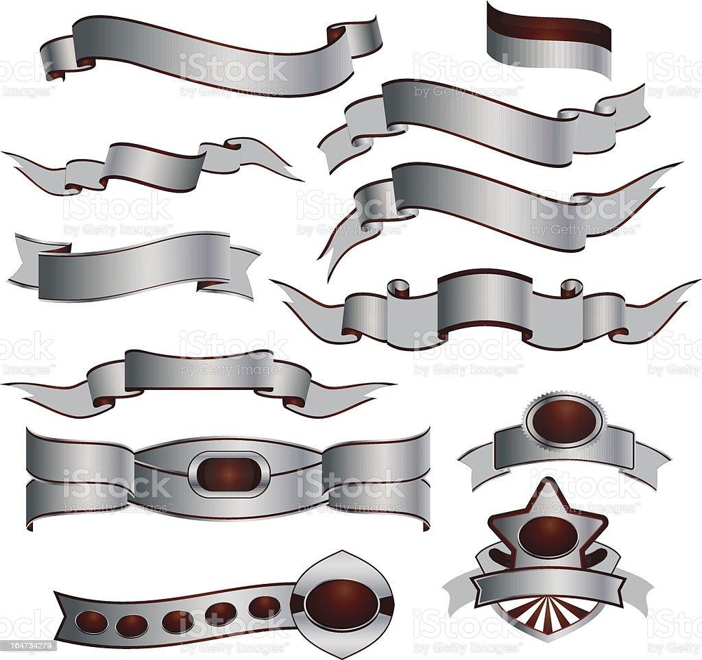 Silver Ribbons set royalty-free stock vector art