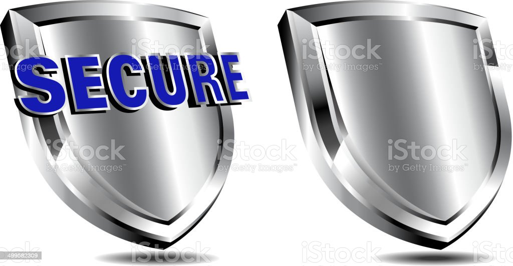 Silver Secure Shield, Spam and antivirus protection royalty-free stock vector art