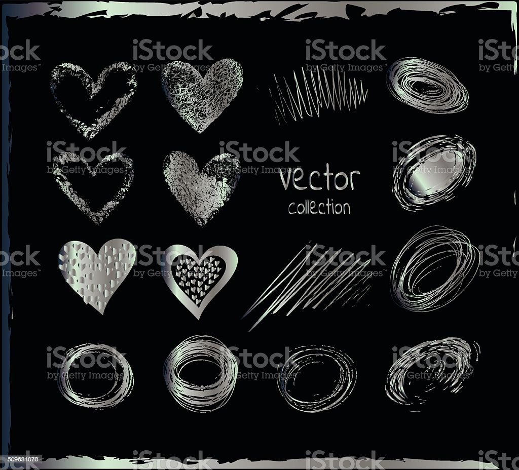 Silver set of the hand drawing hearts, isolated on black. vector art illustration