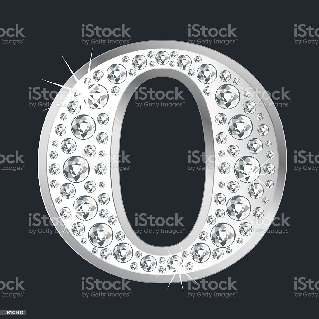 Silver shining Letter O with diamonds royalty-free stock vector art