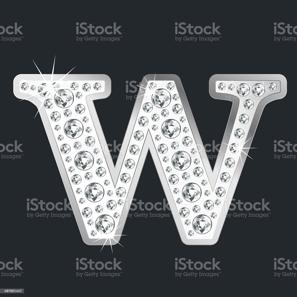 Silver shining Letter W with diamonds royalty-free stock vector art