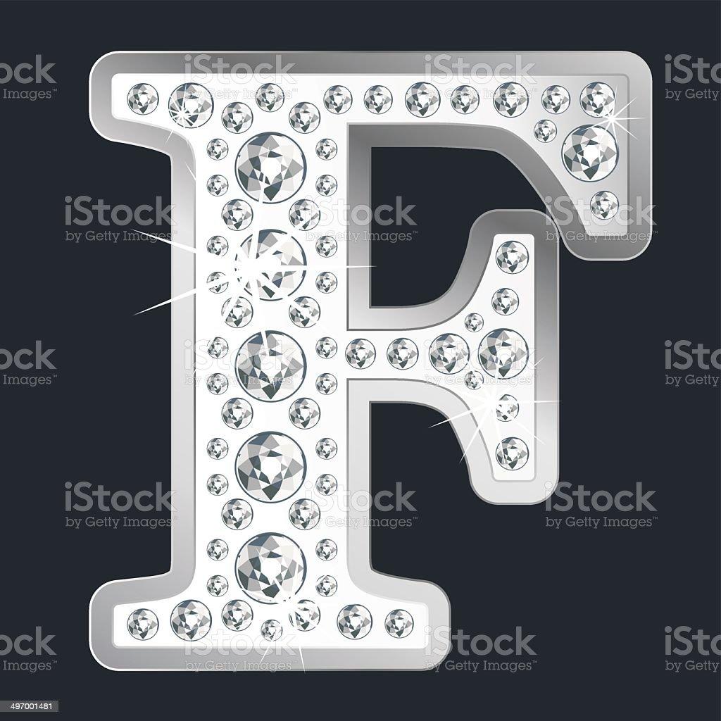 Silver shining Lettler F with diamonds vector art illustration