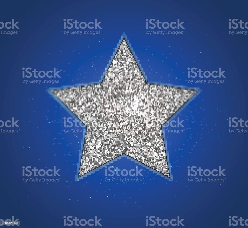 Silver shining star, blue background. Design christmas card vector art illustration