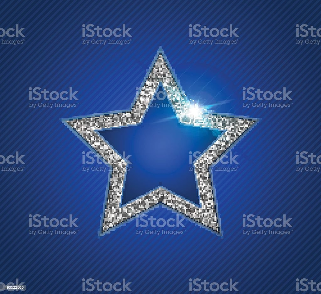 Silver shining star with reflection. Christmas greeting card vector art illustration