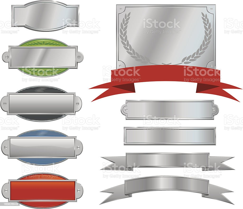 Silver Signs, Plaques and Ribbons vector art illustration