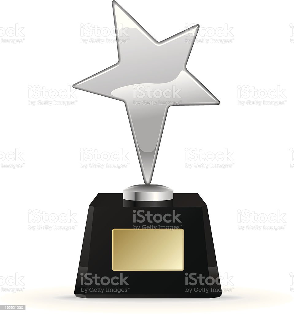 Silver star award trophy on a white background royalty-free stock vector art