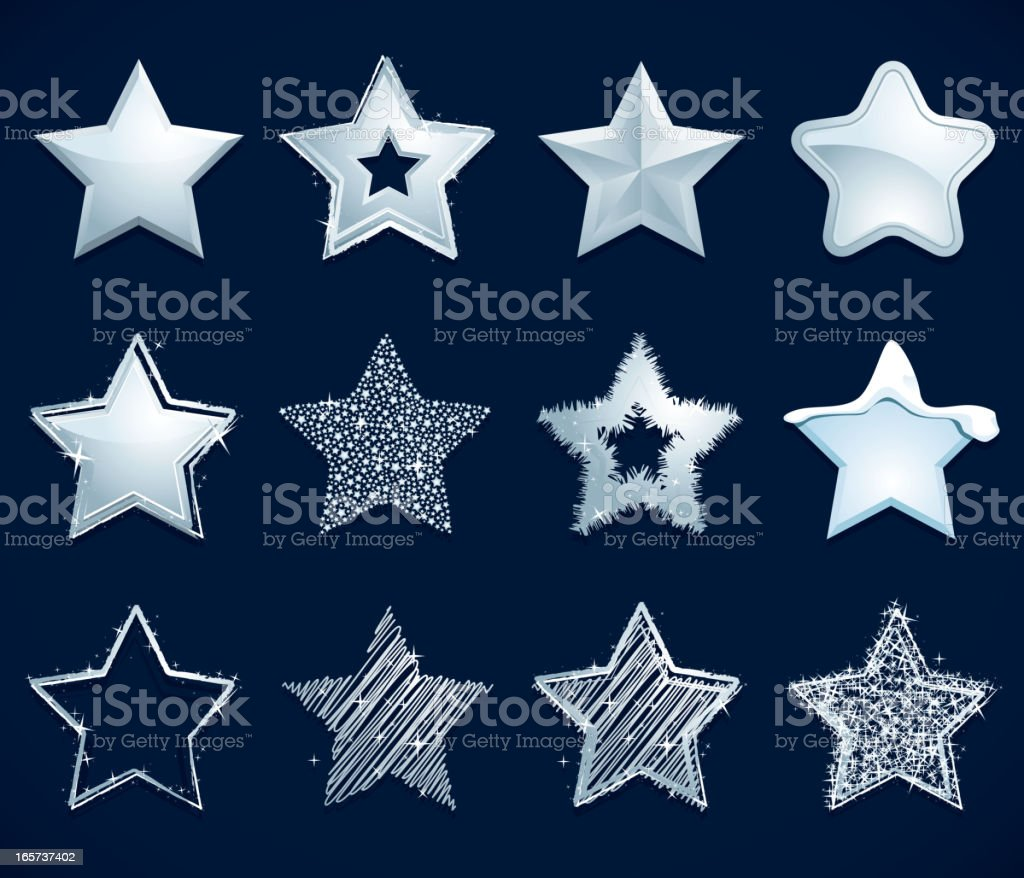 Silver Star icons vector art illustration