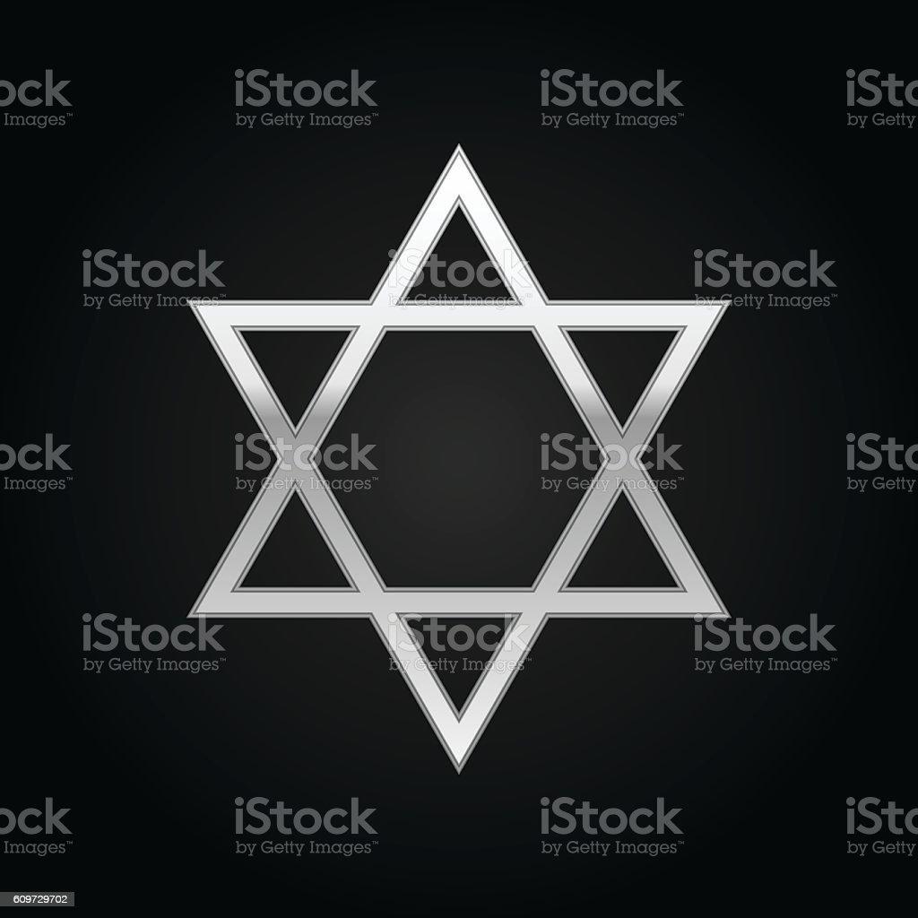 Silver Star of David icon on black background. Vector Illustration vector art illustration