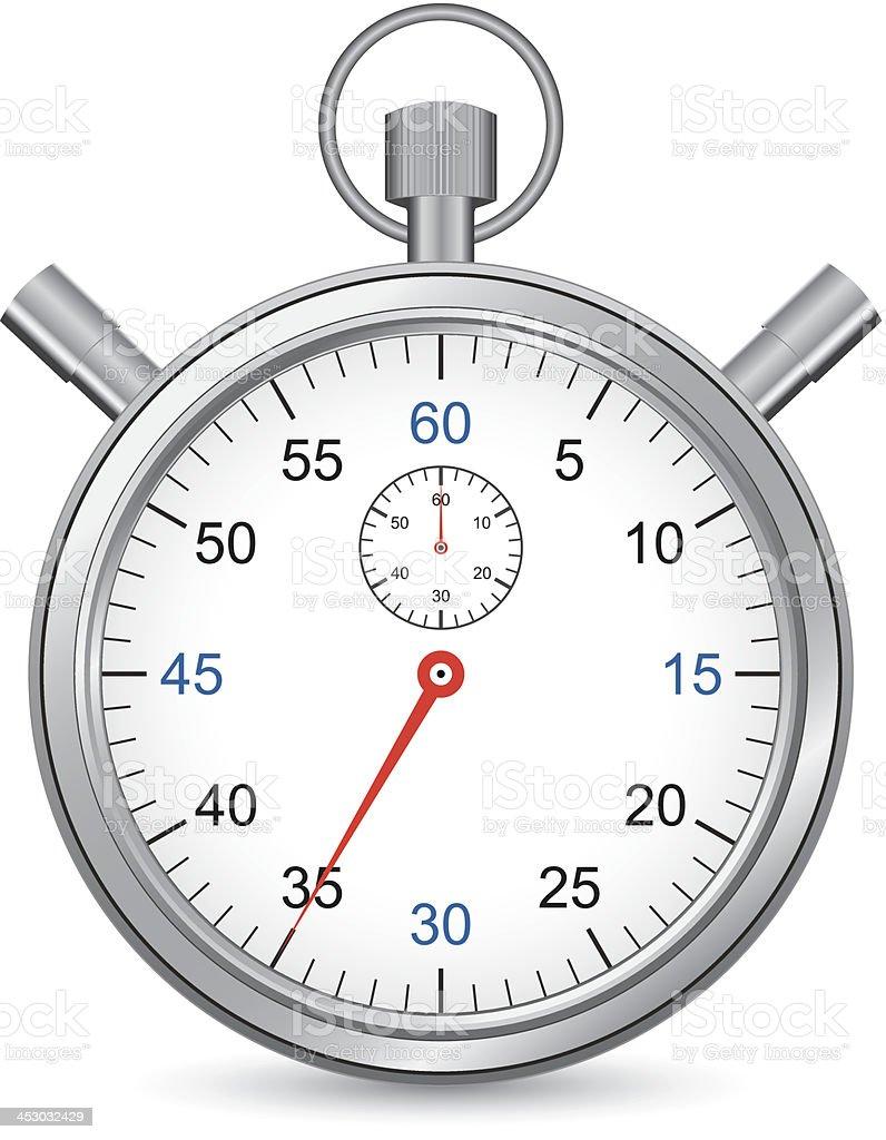 Silver stopwatch, web design icon royalty-free stock vector art