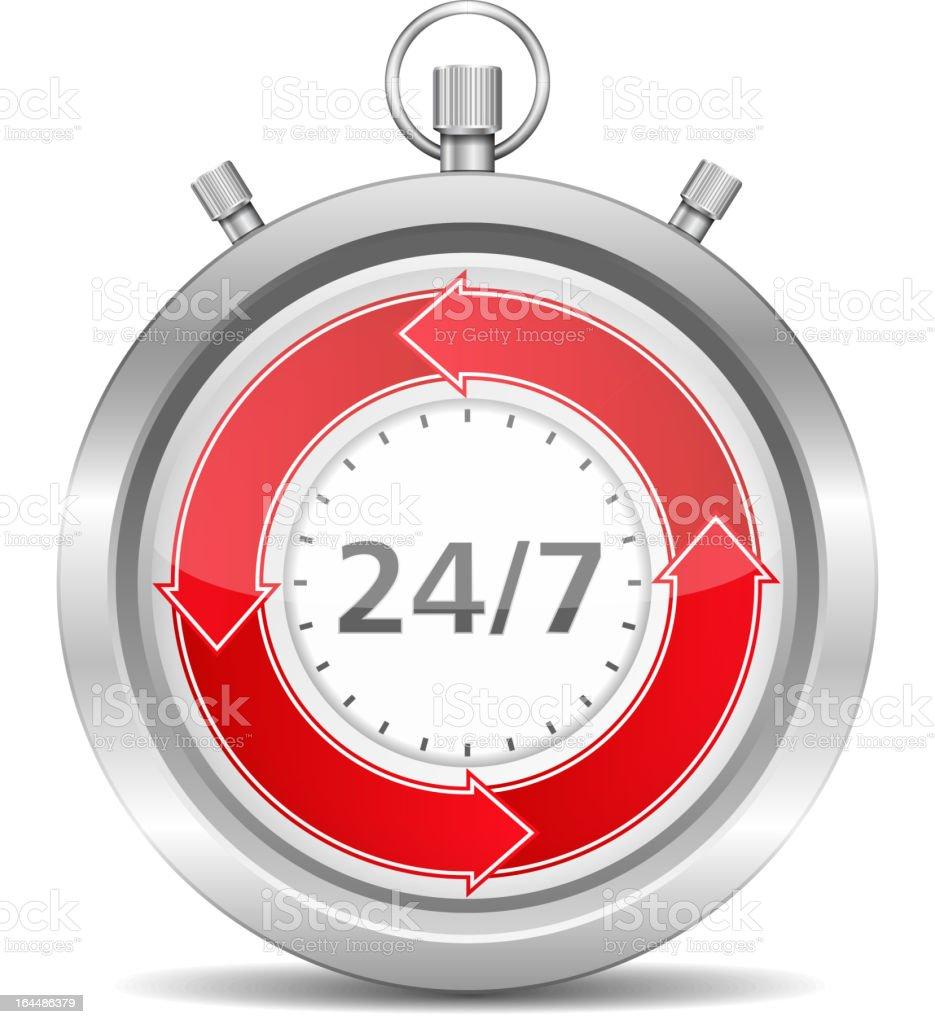 Silver stopwatch with circular red arrows - 25/7 concept royalty-free stock vector art